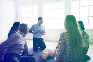 cpr aed first aid training session