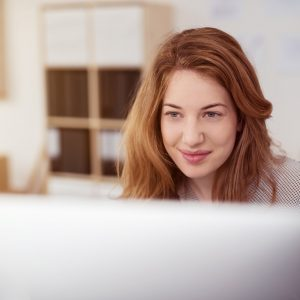 woman doing online training course